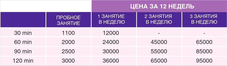 Цены и расписание